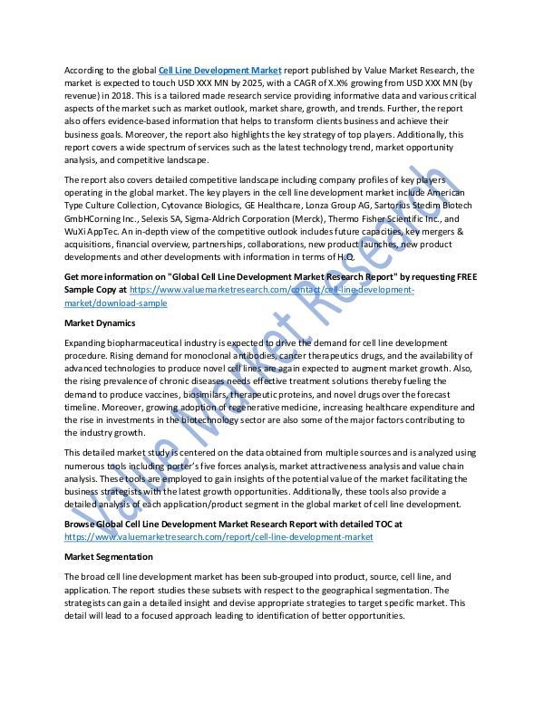 Cell Line Development Market 2018-2025 Report