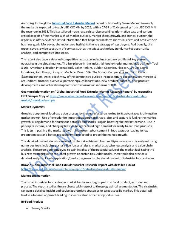 Industrial Food Extruder Market Report 2018-2025