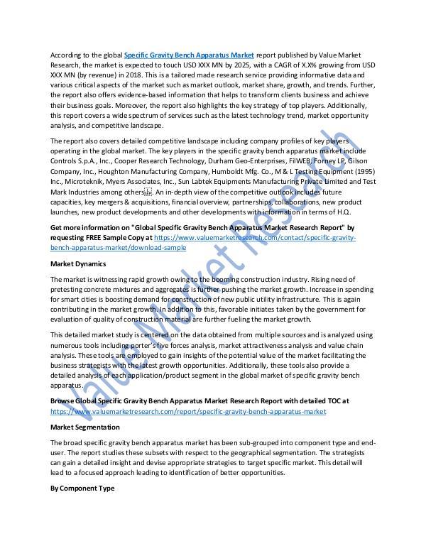Specific Gravity Bench Apparatus Market 2018-2025