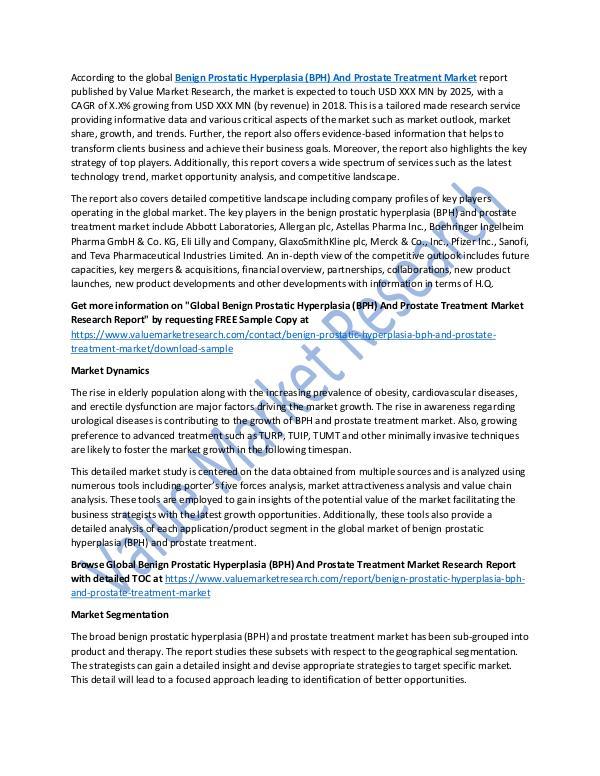 Benign Prostatic Hyperplasia & Prostate Treatment