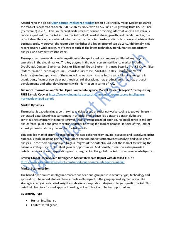 Open Source Intelligence Market Report Till 2025