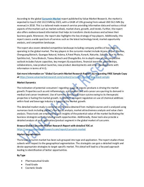 Curcumin Market 2018-2025 Industry Analysis Report