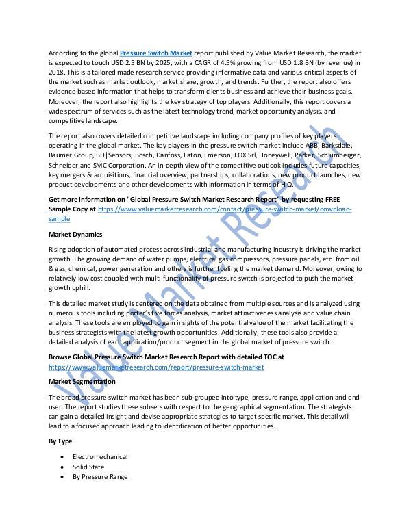 Pressure Switch Market 2018-2025 Report