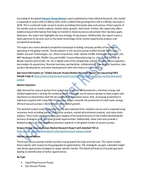 Analysis on Vacuum Pumps Market Report 2018-2025
