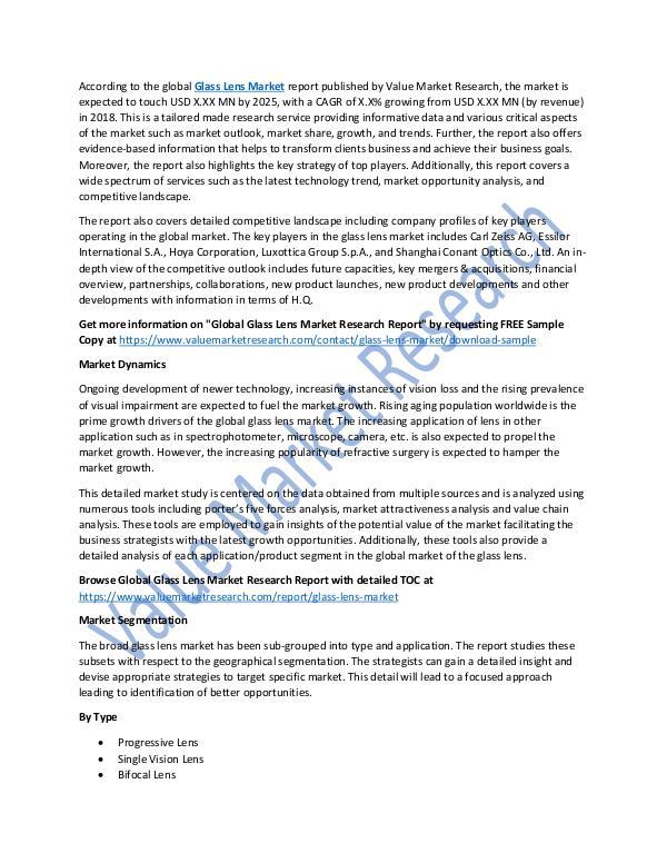 Glass Lens Market 2018-2025 Analysis Report
