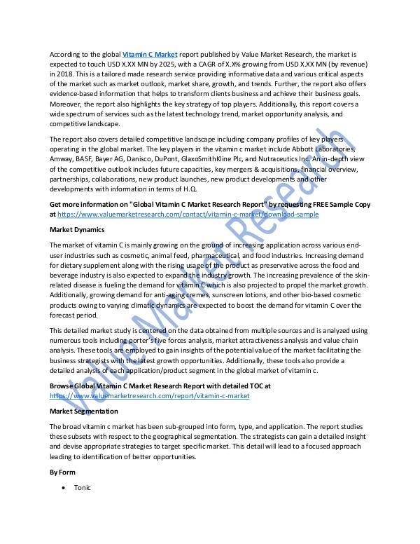 Vitamin C Market 2018-2025 Research Report