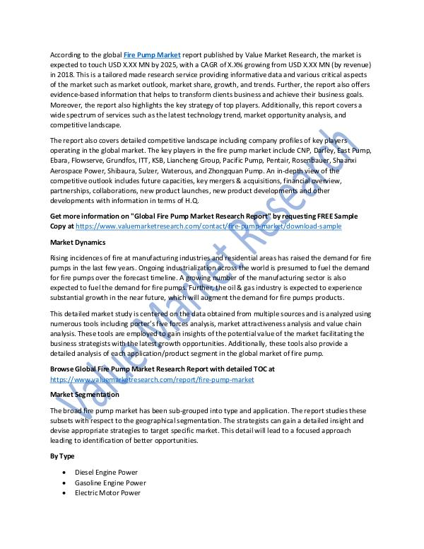 Fire Pump Market 2018-2025 Report