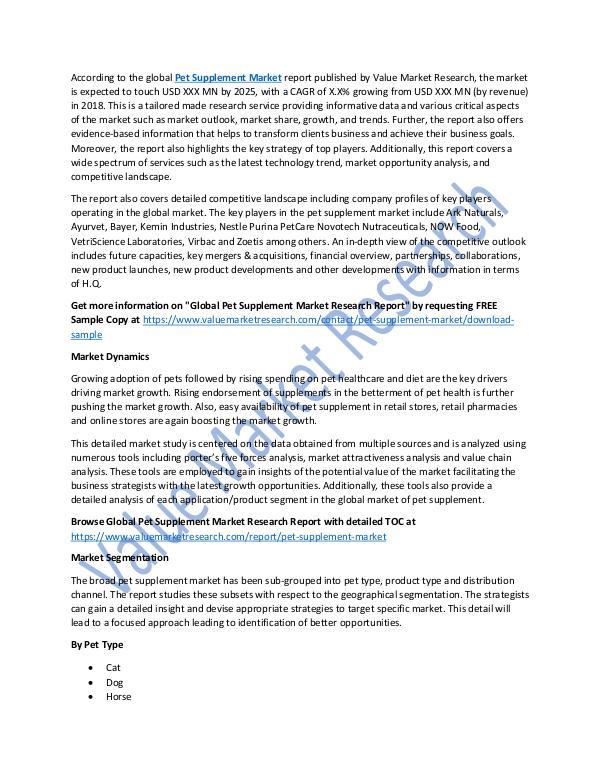 Pet Supplement Market Analysis Report 2018-2025