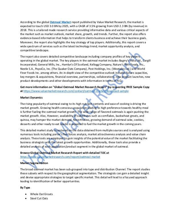Analysis on Oatmeal Market Report 2018-2025