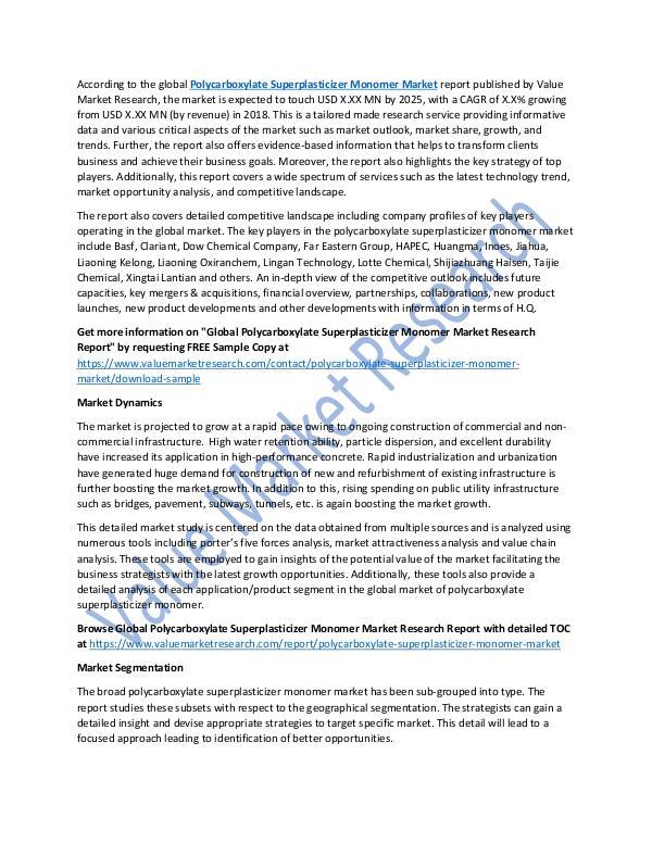 Polycarboxylate Superplasticizer Monomer Market