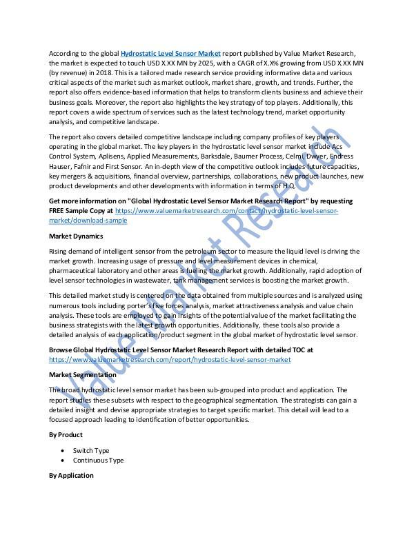 Hydrostatic Level Sensor Market 2018-2025 Report