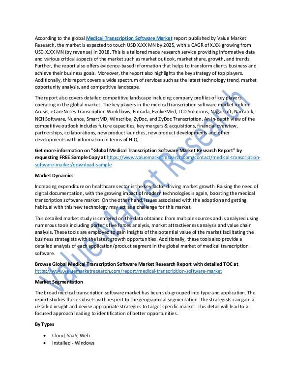 Medical Transcription Software Market 2025 Report