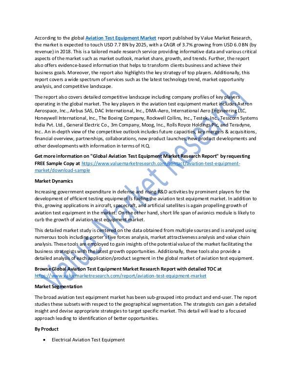 Aviation Test Equipment Market Report 2018 to 2025
