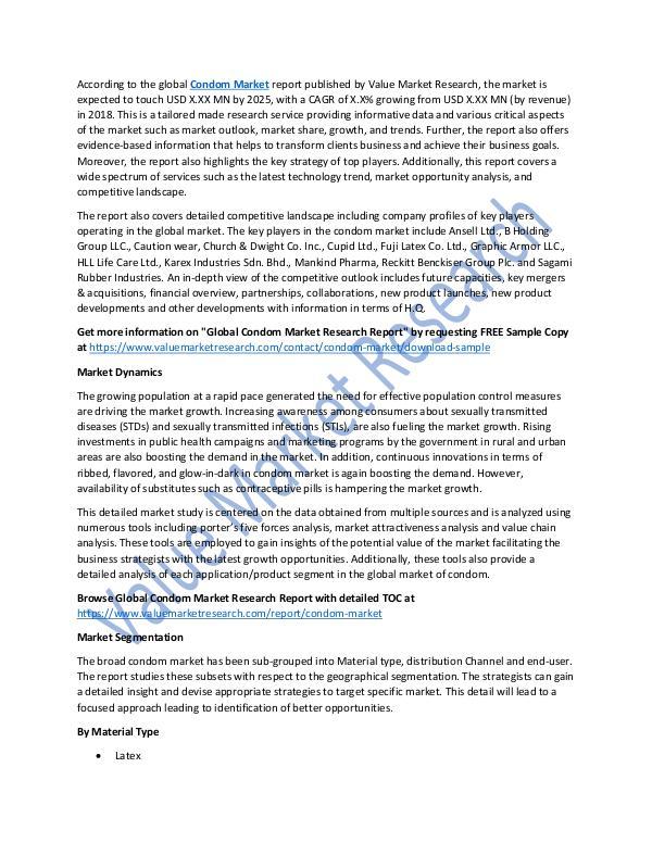 Research On Condom Market Report 2018-2025