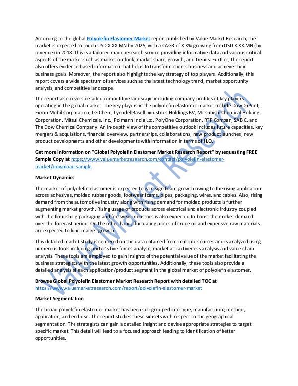 Polyolefin Elastomer Market Research Report, 2025