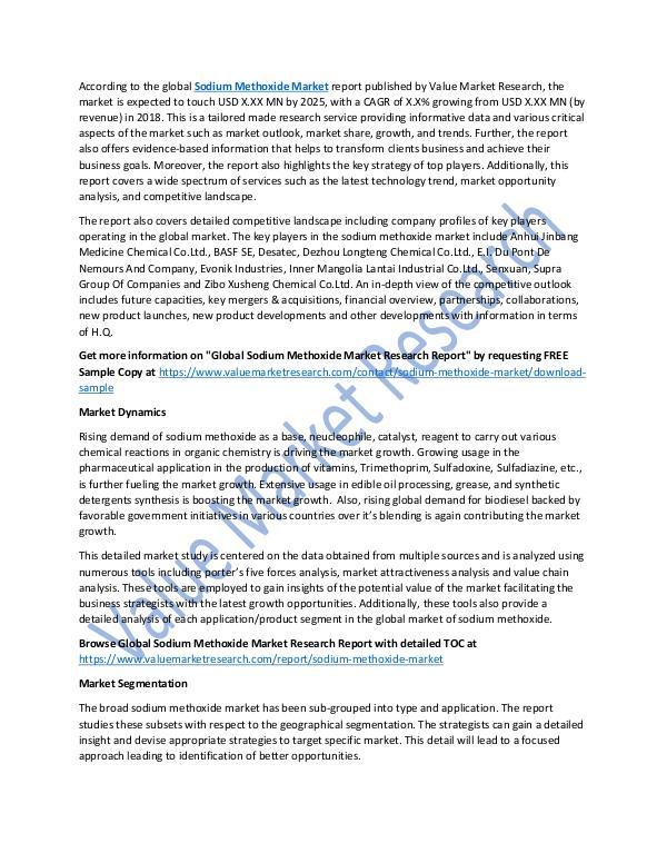 Sodium Methoxide Market Report 2018-2025