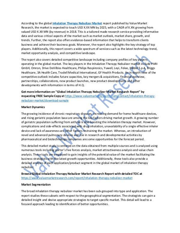 Inhalation Therapy Nebulizer Market Growth Report