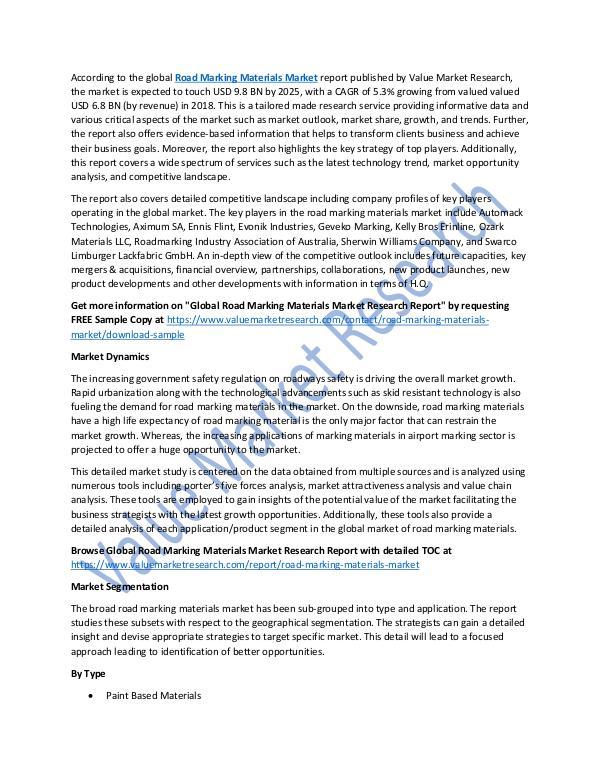 Road Marking Materials Market 2018-2025 Report