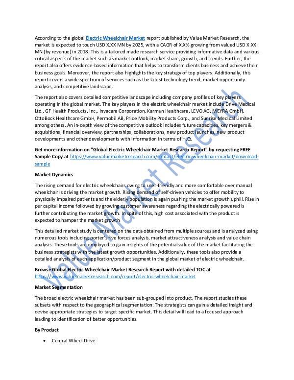 Electric Wheelchair Market Analysis Report, 2025
