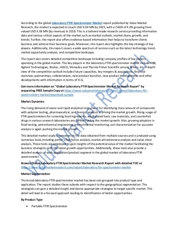 Laboratory FTIR Spectrometer Market Report, 2025