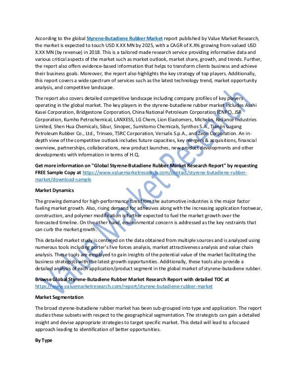 Styrene-Butadiene Rubber Market Report 2018-2025