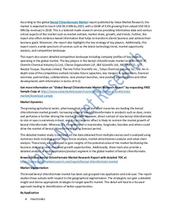 Benzyl Chloroformate Market 2018-2025 Report