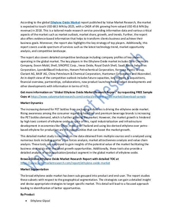Ethylene Oxide Market Analysis Report 2018-2025