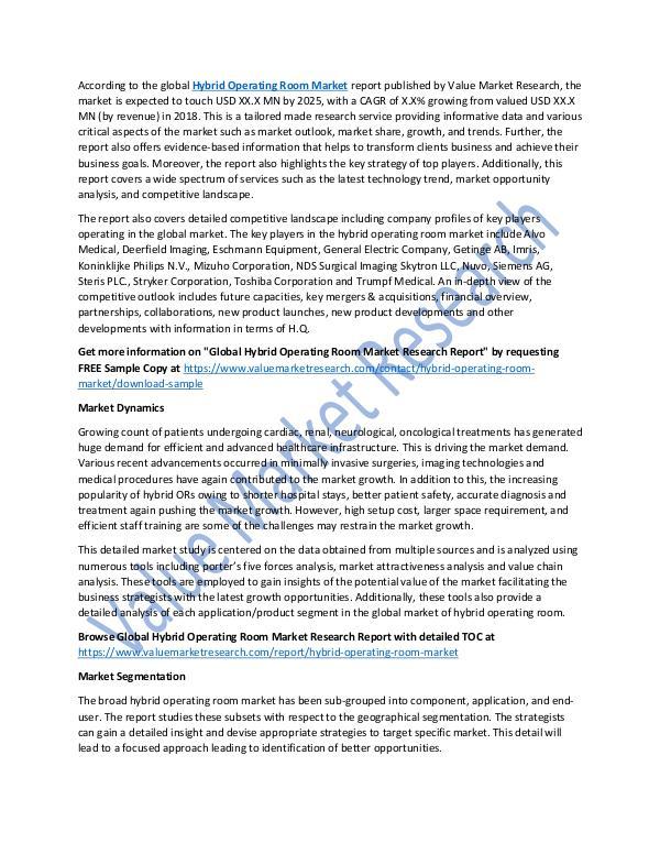 Hybrid Operating Room Market 2018-2025 Report