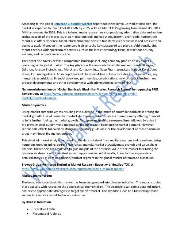 Remicade Biosimilar Market Growth Analysis to 2025