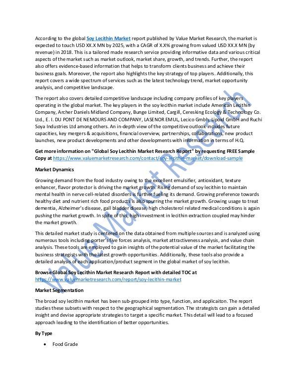 Soy Lecithin Market 2018-2025 Analysis Report