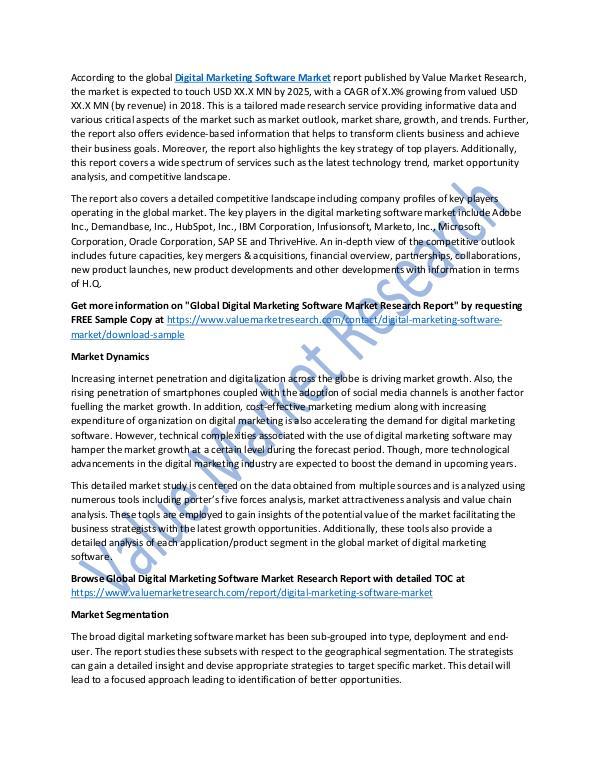 World Industries Digital Marketing Software Market 2018-2025 Report