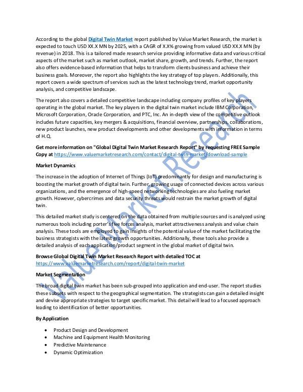 Research On Digital Twin Market Report 2018-2025