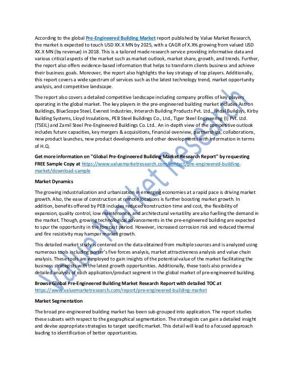 World Industries Pre-Engineered Building Market Report 2018-2025