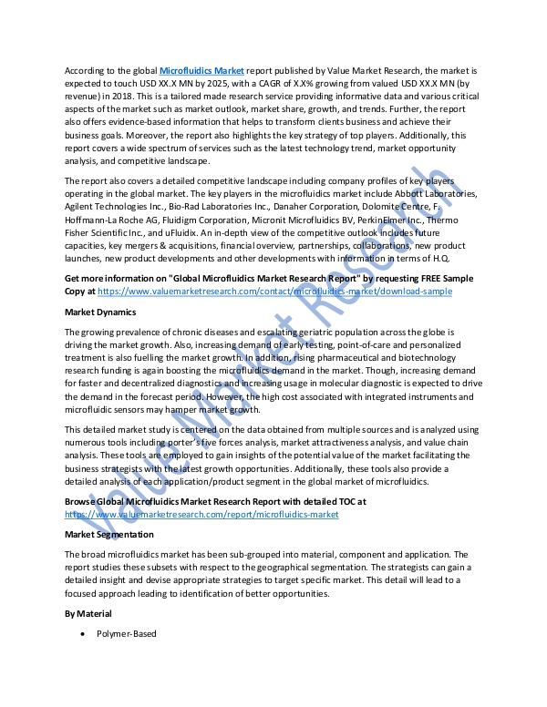 World Industries Analysis on Microfluidics Market Report 2018-2025