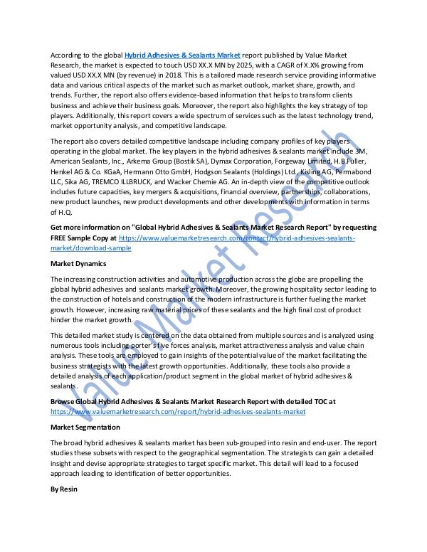 Hybrid Adhesives & Sealants Market 2025 Report
