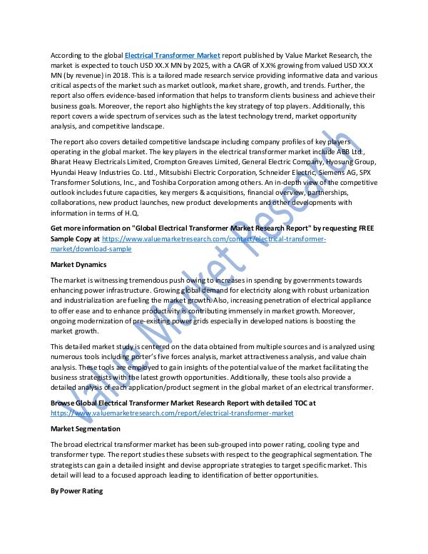 Electrical Transformer Market Report 2018-2025