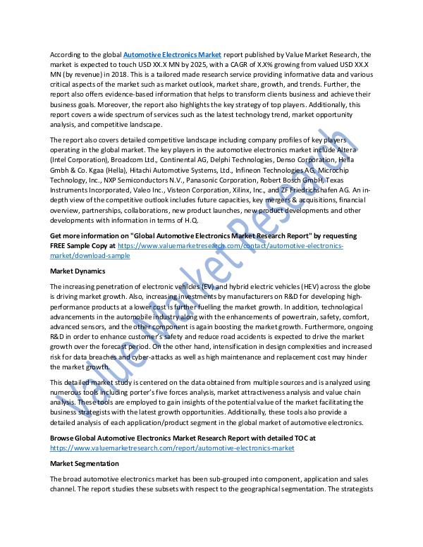 Automotive Electronics Market 2018-2025 Report