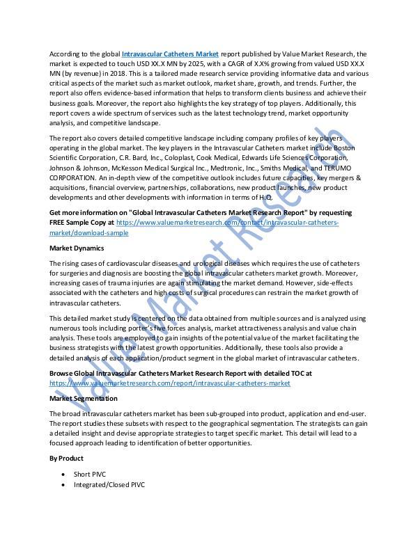 Intravascular Catheters Market 2018-2025 Report