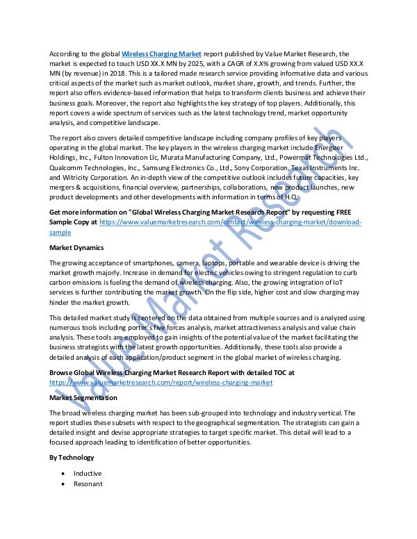 Wireless Charging Market 2018-2025 Analysis Report