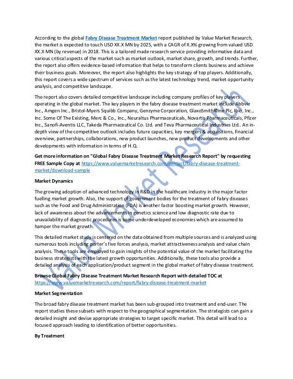 Fabry Disease Treatment Market Report To 2025