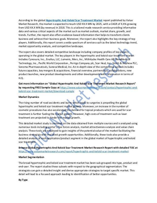 Hypertrophic And Keloid Scar Treatment Market