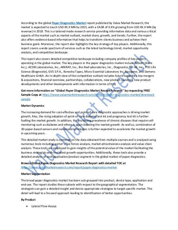 Paper Diagnostics Market 2018-2025 Analysis Report