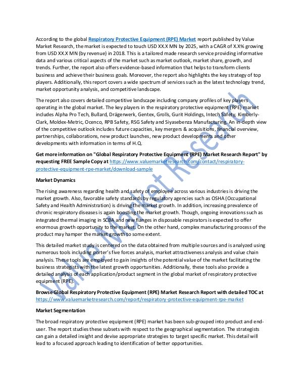 Respiratory Protective Equipment Market Report