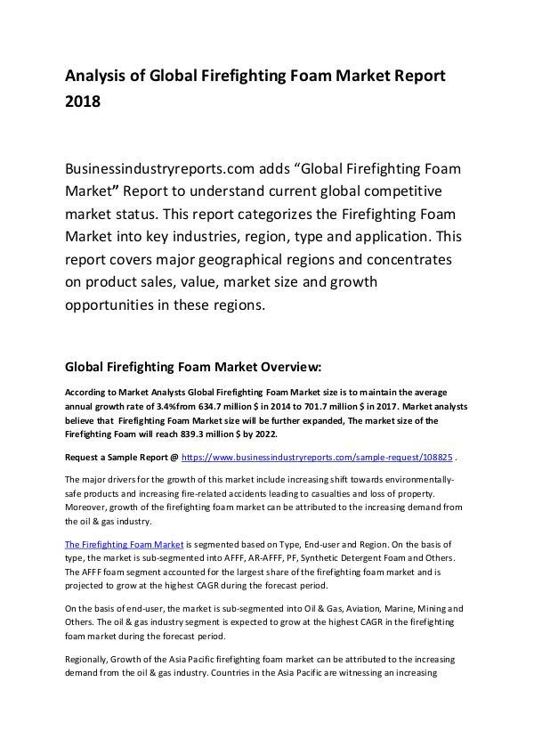Market Research Report Global Firefighting Foam Market Report 2018