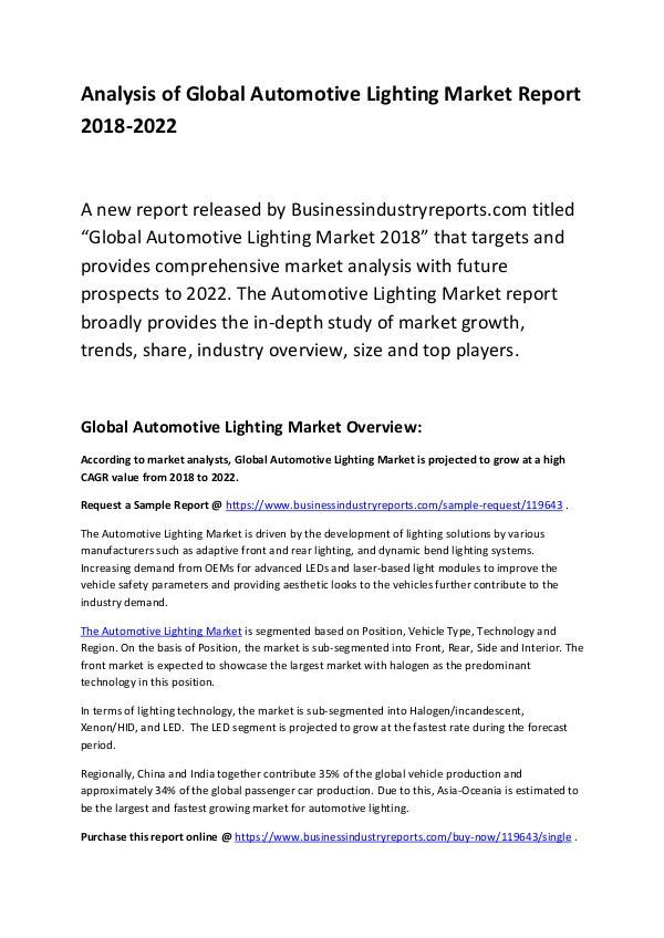 Market Research Report Global Automotive Lighting Market Report 2018