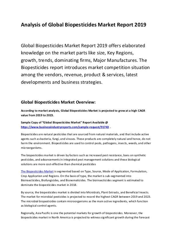 Global Biopesticides Market Report 2019