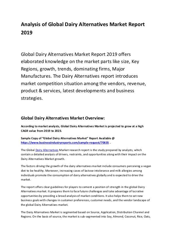 Global Dairy Alternatives Market Report 2019