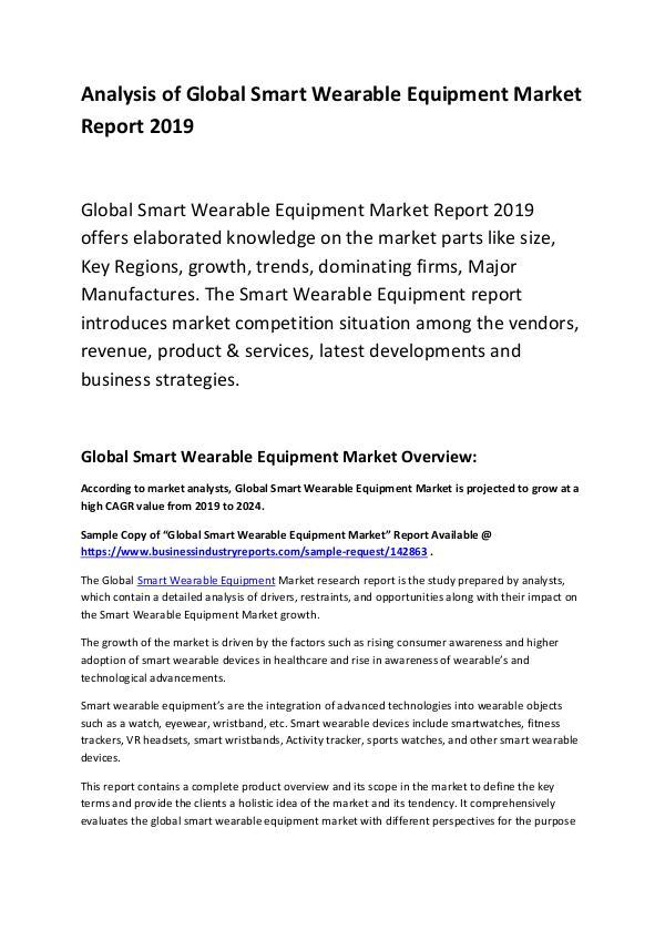 Global Smart Wearable Equipment Market Report 2019
