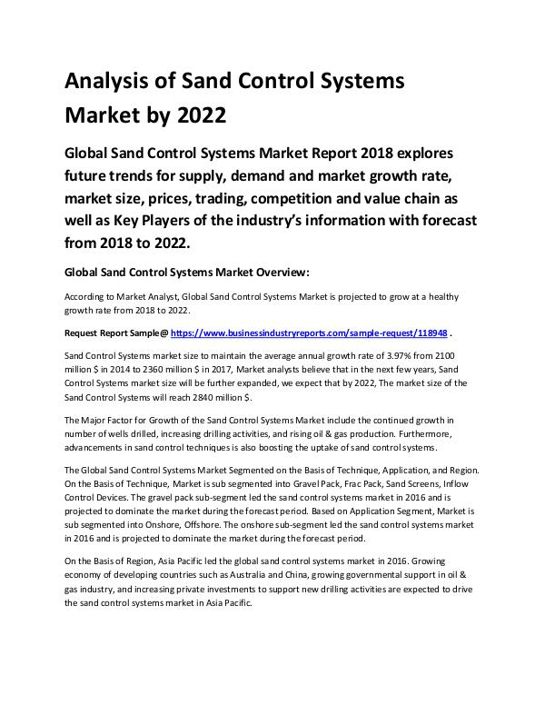Chemical Analysis Report Sand Control Systems Market