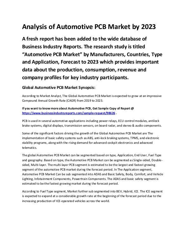 Market Analysis Report Automotive PCB Market